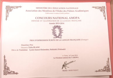 Le diplôme de l'AMOPA